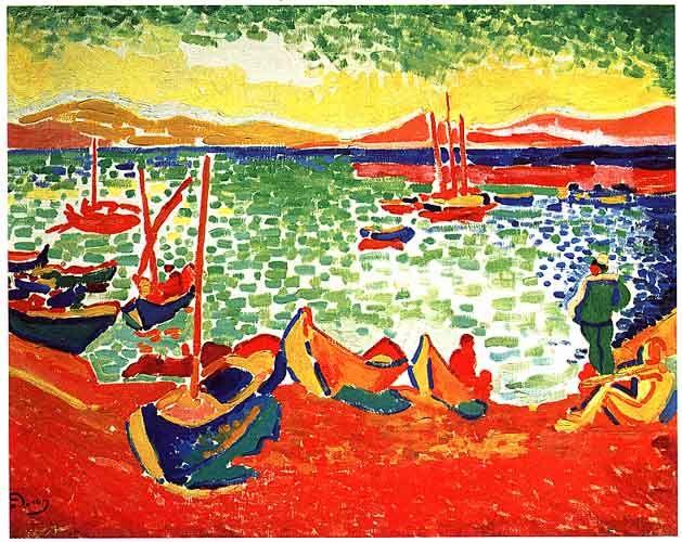 Derain_Boats_at_Collioure_Harbor_1905.jpg 629×500 píxeles Couleur exagerée vibrantes