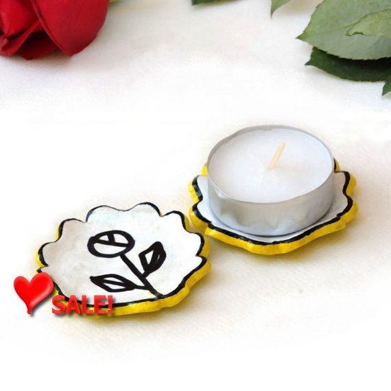 Valentine Sale Yellow Candle Holders - set of 2 yellow flower tea light holders ceramic home decor tea bag holder Holiday gift Hoste... by StudioDhomeDecor