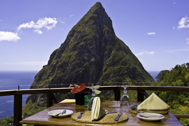 Enjoy incredible views over breakfast at Ladera St. Lucia