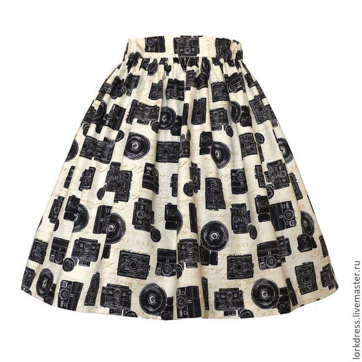 Купить Юбка Photo 45 см с карманами - бежевый, черный, рисунок, кремовый, юбка в сборку