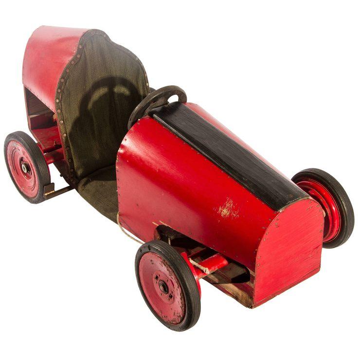 Folk art 1930s race car soap box derby car