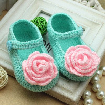 fresh spring handmade Crochet Baby Booties/ pink rose flower style / baby shoes soft baby booties for 0-12months baby