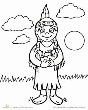 Native American Coloring Pages For Kindergarten