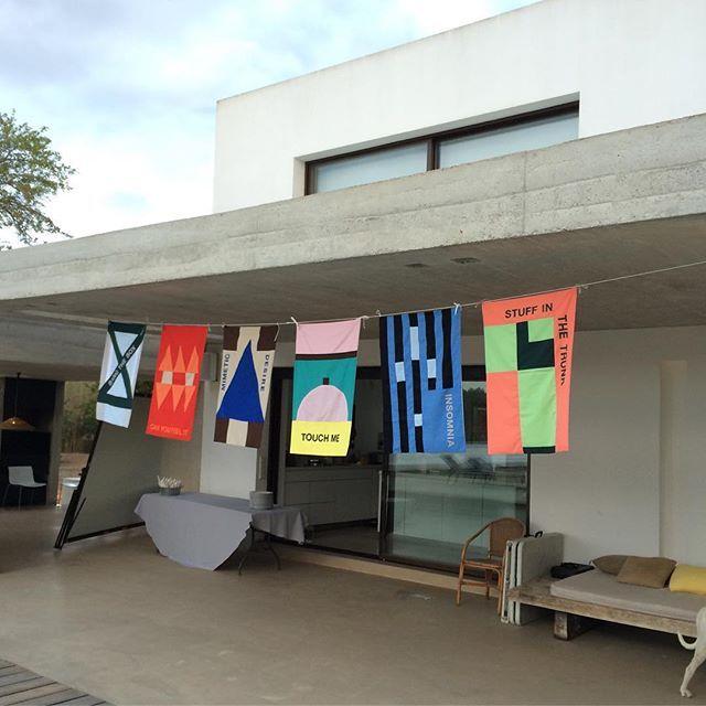 'Loca People (What the F**k)', 2016. Set of banners produced during my two weeks residency on Ibiza, Spain at @sesdotzenaus #ibiza #sesdotzenaus #damienpoulain