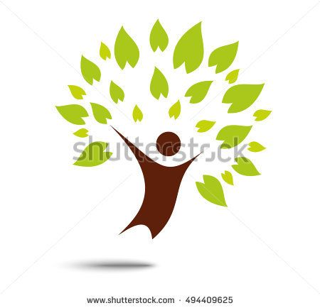 Green family tree sign and symbol