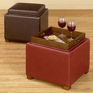 Ryan Bi Cast Leather Storage Cube   Living Room Furniture  Furniture   World  Market