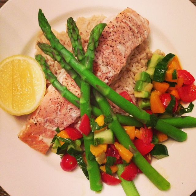 Coconut Poached Salmon with Mango Salsa and Asparagus