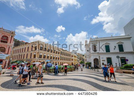 MACAU , JULY 2016 : The Senado Square is a paved town square and part of the UNESCO Historic World Heritage Site in Macau on July 2 2016.  - stock photo