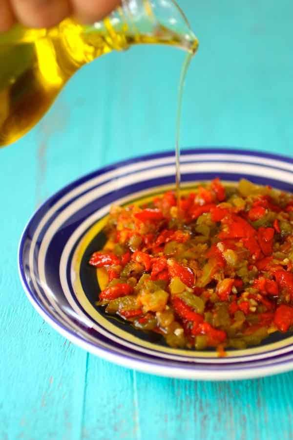 Mechouia: Tunisia cooked tomato and pepper salad.