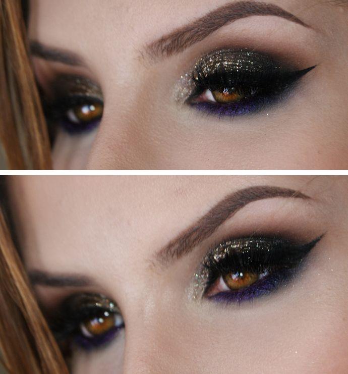 Tutorial – maquiagem para noite com roxo, preto e dourado
