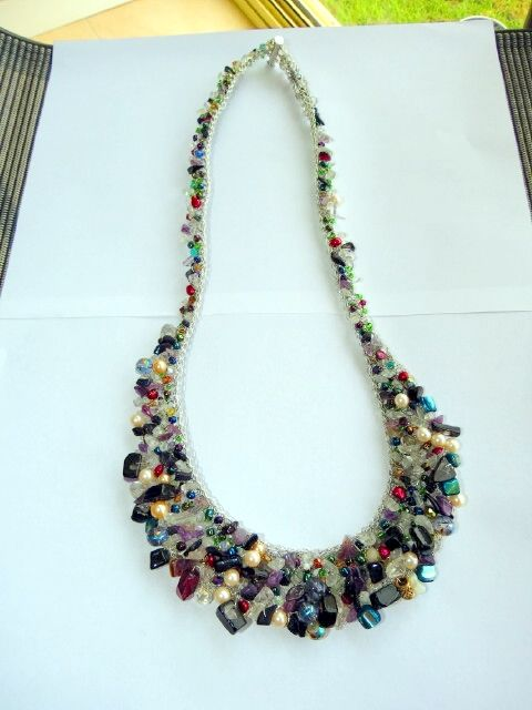 Crochet wire necklace  with lots of beads