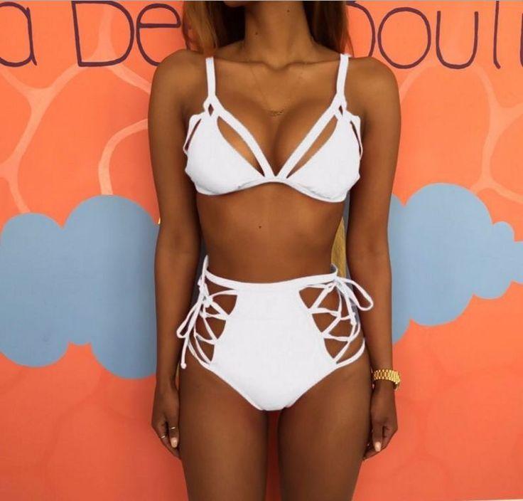 High Waist Hollow Crisscross Strap Bikini Set Swimsuit Swimwear
