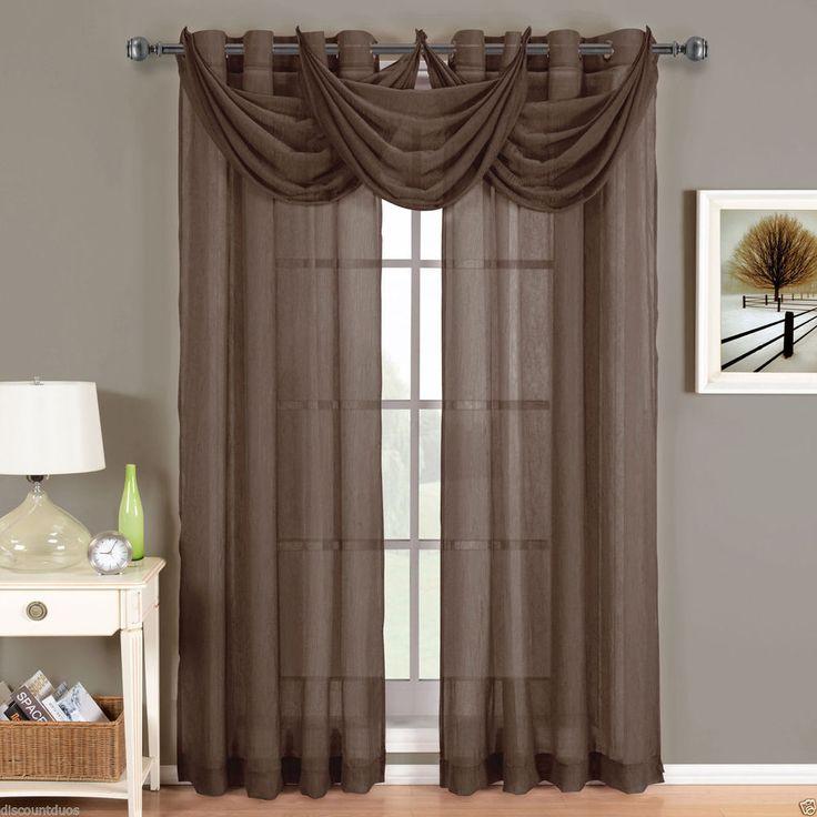 Abri Chocolate Brown Grommet Crushed Sheer Curtain Panel