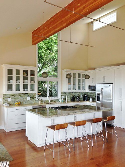 White Kitchen Cabinets With Gl Backsplash Tile Ventura California Al House Review Tour