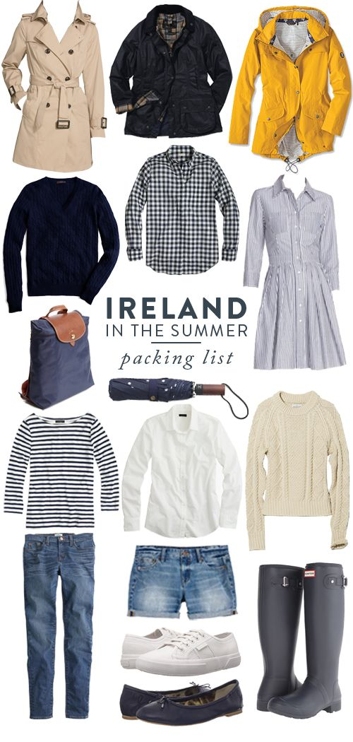 Ireland, in my opinion, is totally one of those trips that you could pack with a carry-on. I'd stick to sneakers, one pair of rain boots, a rain coat, leggings, a pair of running shorts, jeans, a swea
