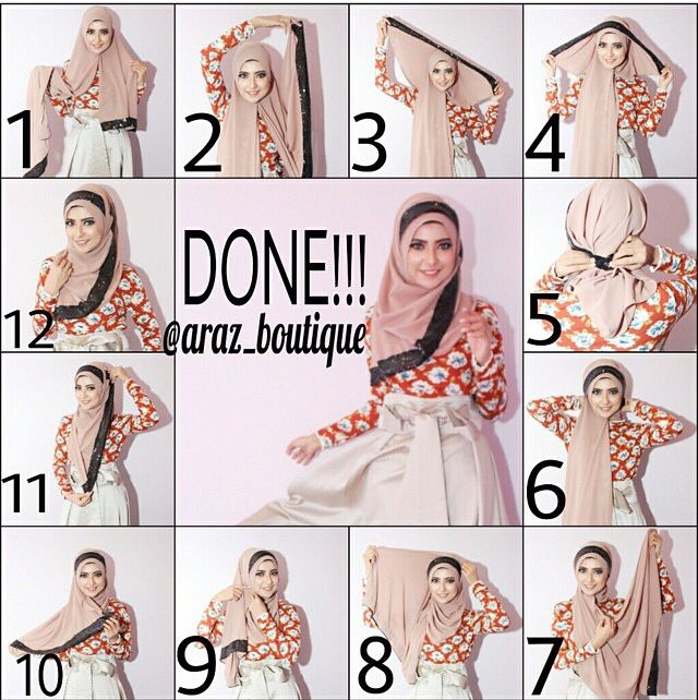 Easy step by step shawl tutorial. Look cute! #hijabtutorial #stepbystep #shawl