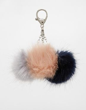 ASOS Triple Faux Fur Pom Keyring