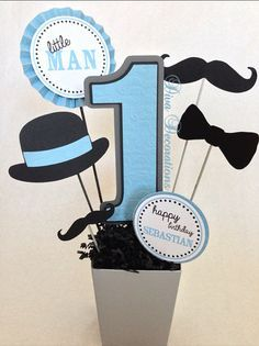 Little Man Mustache Birthday Party Centerpiece Decoration