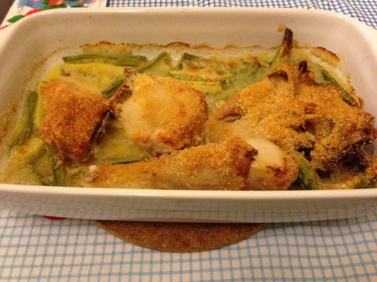 Pollo croccante con zucchine novelle (ricetta secondo piatto)