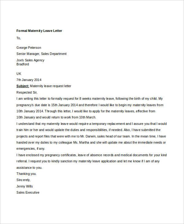 formal letter sample template free word pdf documents download - leave letter
