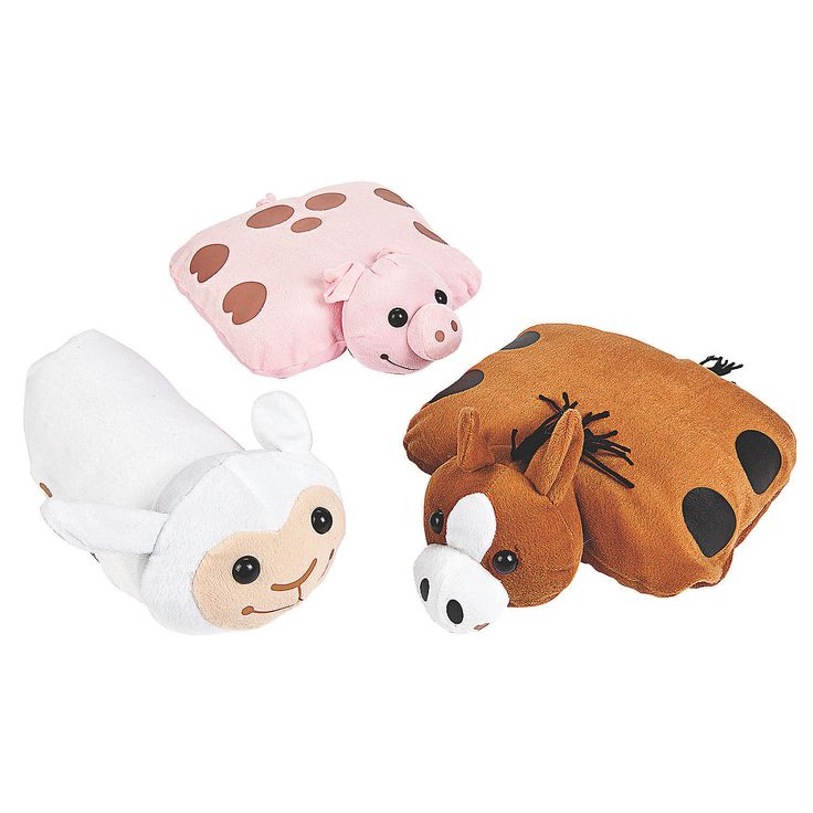 Farm Animal Pillow Pets : 12 Farm Pillow Friends - OrientalTrading.com Tyler Pinterest Carnival prizes, Carnivals ...