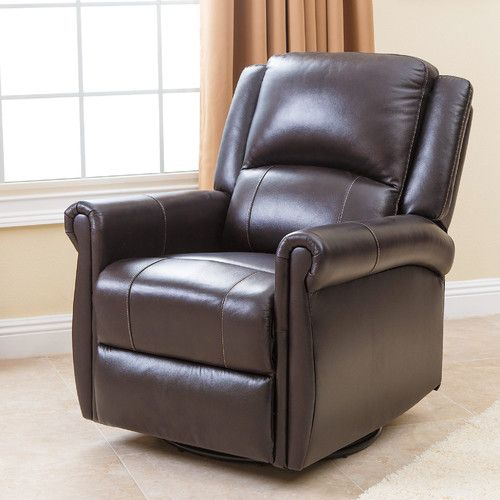 Abbyson Elena Leather Swivel Glider Recliner   Brown   The Abbyson Elena  Leather Swivel Glider Recliner   Brown Is Ideal For The Living Room, ...