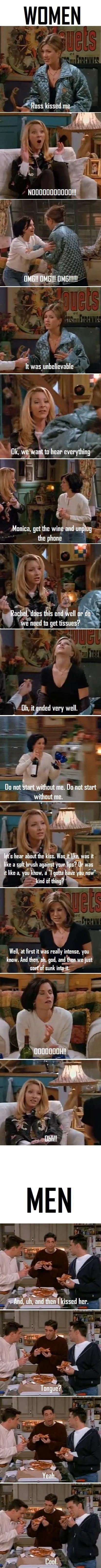 "One big difference between Women & Men - ""Friends"" - Rachel and Ross kiss. ;)"