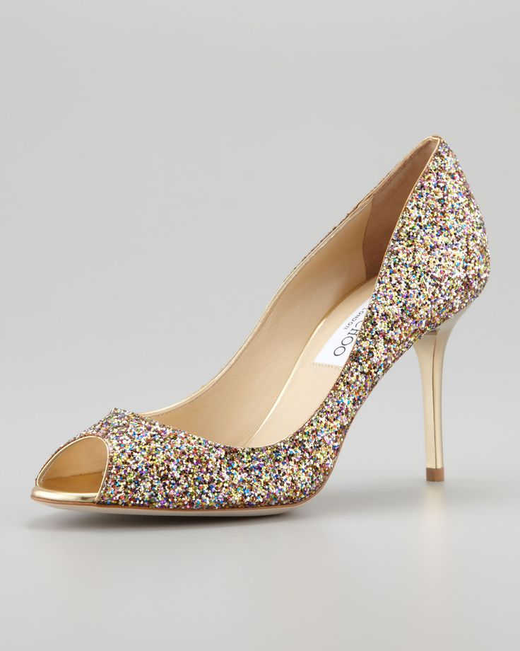 Pumps & High Heels for Women On Sale, ballet pink, Glittered Leather, 2017, 5 8.5 Jimmy Choo London