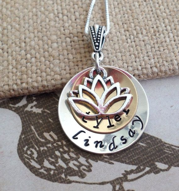 Layered disc necklace, mixed metals, name necklace, mommy jewelry, lotus necklace, grandmother jewelry, kids names necklace. Silver and gold