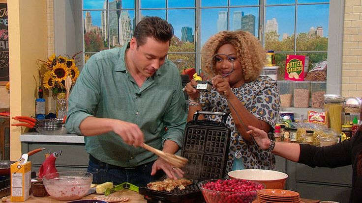 jeff mauro's stuffing waffles with cranberry sauce | rachael ray