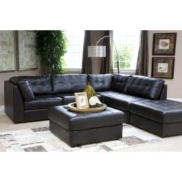 the galaxy chocolate living room is a modular living room with a modern boxy style each piece is wrapped in bonded leather and includes tufted back and