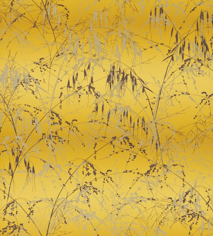 Meadow Grass Mimosa / Mulberry wallpaper by Clarissa Hulse