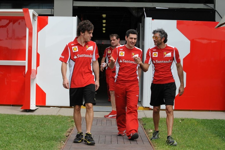 Fernando was at the track for a chat with his engineers. He was in a very good shape, not only physically...