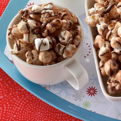 Hot Cocoa Popcorn - it's yummy, easy to make lots of it, and great to take to parties. Tips: seperate into clumps and then stick into the freezer for a minute to quick dry the chocolate; put each clump in a cupcake liner or else they will all clump together; use a little less popcorn so there is more chocolate stickiness!