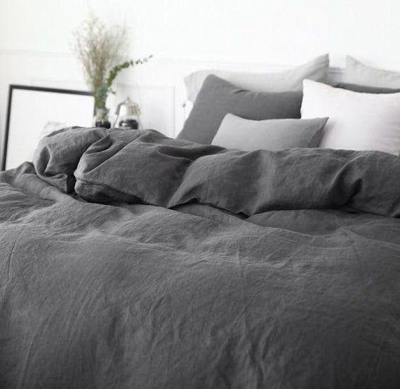Ebony King Linen Duvet Cover Available In All Sizes Or Custom Size Slate Dark Grey Linen Not Bla In 2021 Grey Comforter Bedroom Bed Linens Luxury Grey Duvet