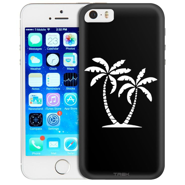 Apple iPhone SE Silhouette Tropical Palm Trees on Black Trans Case