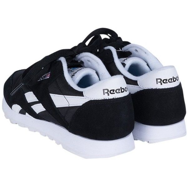 Reebok Classic Nylon Gum Sneaker ($60) ❤ liked on Polyvore featuring shoes, sneakers, round toe shoes, logo shoes, rubber sole shoes, lace up shoes and reebok shoes