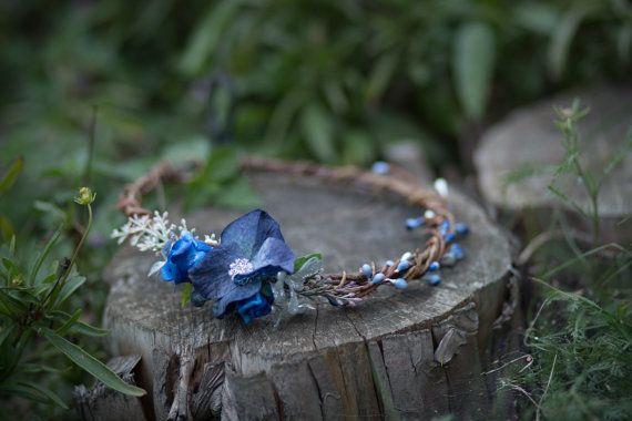 flower hair wreath romantic brown blue wedding crown bridal headpiece woodland…