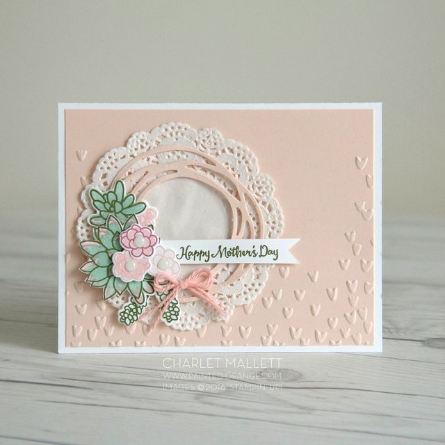 We absolutely love this combination of the Swirly Scribbles thinlits and Oh So Succulent on this card! So lovely.