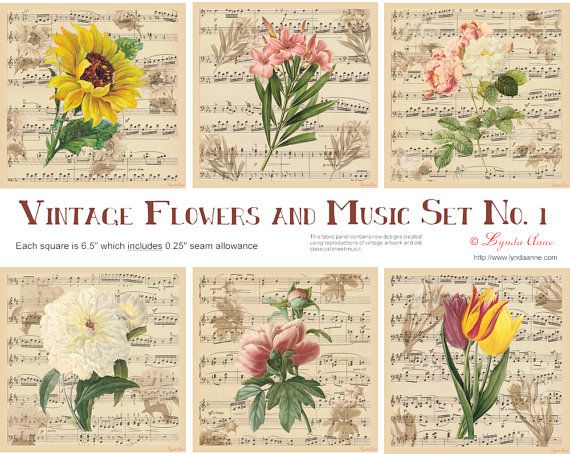 """Set of 6 - Vintage flowers and music on a fabric panel / patch - for quilting, patchwork and other crafts - Each panel is 6""""square, plus 0.25"""" seam allowances. Free post within Australia -  $34.95 AUD #vintage #flowers #fabricpanel www.lyndaanne.com"""