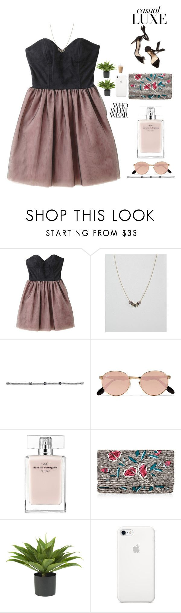 """""""10/10🕊"""" by nour20-17 ❤ liked on Polyvore featuring Johnny Loves Rosie, Phillip Gavriel, Ray-Ban, Narciso Rodriguez, New Look, Nearly Natural and Who What Wear"""