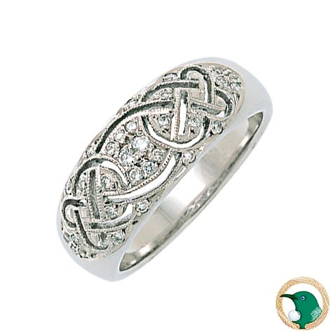 Our ladies Promise Diamond Pave Celtic ring 18ct white gold featuring a pierced Celtic weave, surrounded with x28 0.01ct smaller diamonds and two 0.02ct larger diamonds (TDW .18ct).