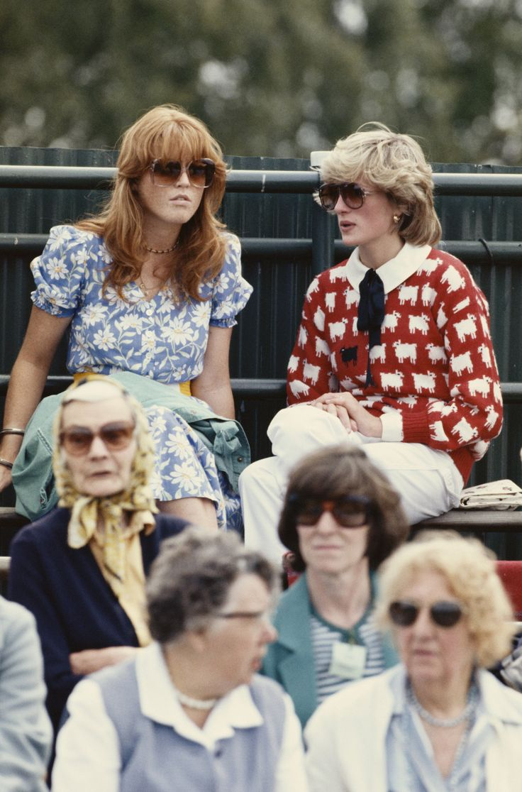 Sarah Ferguson & Princess Diana, 1983    Every photo that I see of Diana and Sarah, it always seems like Diana has this effortless chic and grace about her, and her outfit. Sarah always seemed to try a little bit too hard. I don't dislike Sarah at all, far from it, but it just always seems she tries to fit in and be liked a little too much. She actually has admitted it in several interviews I've seen. She says she tried and tried to be 'liked' and it oft