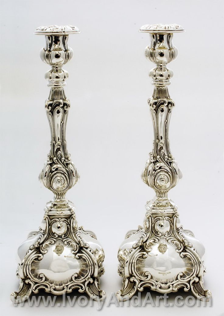 Magnificent solid Silver Judaica pair of candlesticks! Look at the amazing clean and precise handwork done on each individual piece, complementing each other while retaining the beauty and elegance individually. See the age old traditional curves and solid accentuated patterns in pure Sterling silver 925. Magnificent designing on the holders [...]