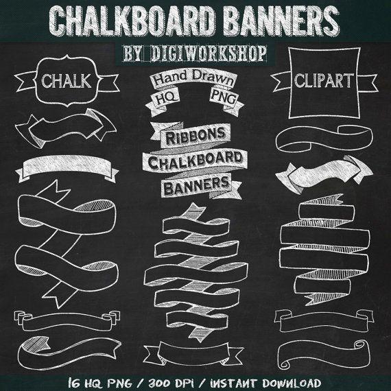 """Chalkboard banners clip art  """"CHALKBOARD BANNERS"""" pack with chalkboard banners, chalkboard ribbons.(+ black & green chalkboard background) #etsy #digitalpaper"""