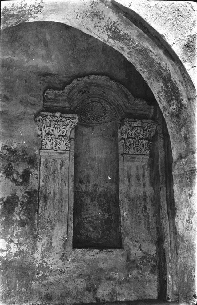 "Mardin, Dayr Zafaran ""The Saffron Monastery"", South chapel, entrance, exterior left niche, April 1911, Gertrude Bell Archive, Newcastle University"