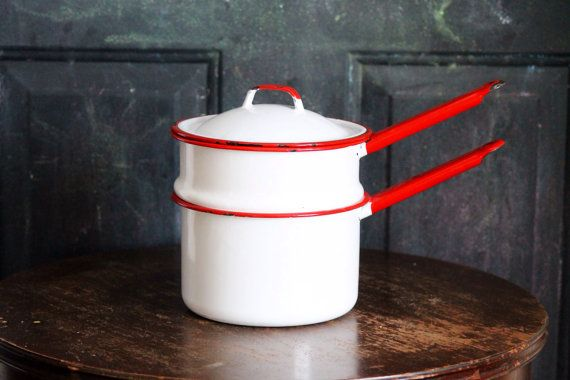 Red & White enamel saucepan Double Boiler Pot with lid Vintage Enamelware Retro Decor Kitchen on Etsy, $26.56 AUD
