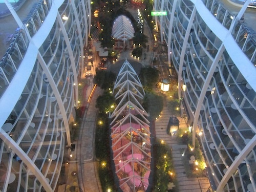 Looking down on Central Park, of of the 7 neighborhoods aboard the Oasis of the Seas