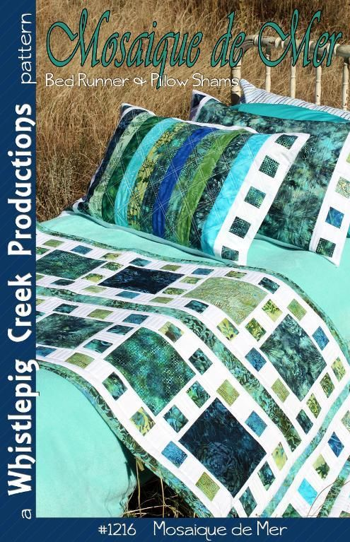 (7) Name: 'Quilting : Mosaique de Mer - Bed Runner