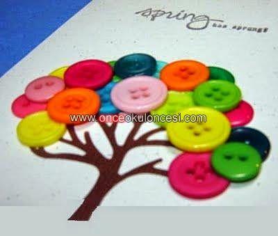 mutlu anne babalar mutlu çocuklar: düğmeli ağaç resmi